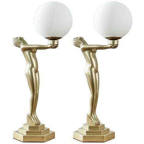 Woman Holding Globe Pair Table Lamp Gold Painted Art Deco - Add LED Bulbs