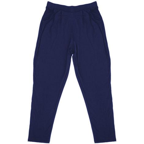 Womens Lightweight Hareem Summer Trouser Bottoms Lounge Wear Pants, Navy, 10,