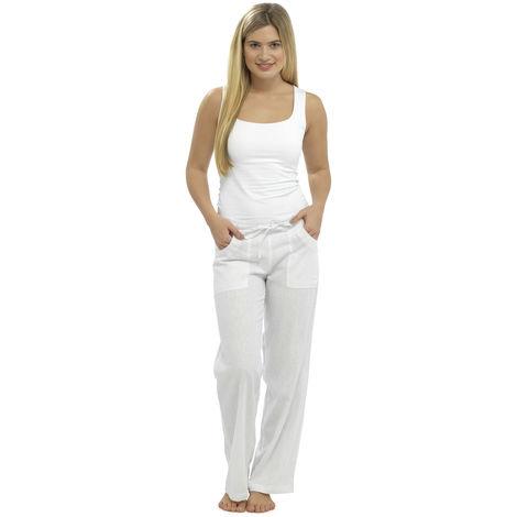 Womens Solid Colour Elasticated Waist Linen Trouser Bottoms Lounge Wear Pants