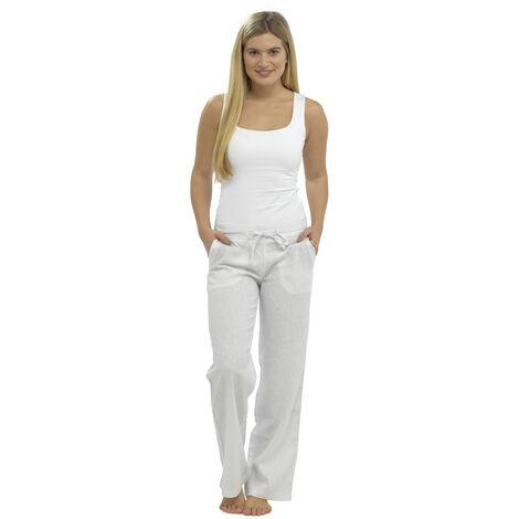 Womens Solid Colour Ribbed Waist Linen Trouser Bottoms Lounge Wear Pants