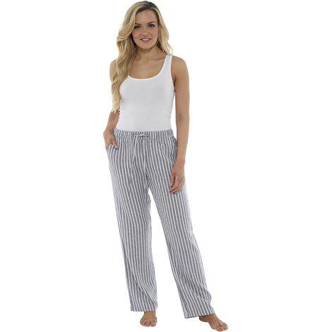 Womens Stripe Print Elasticated Waist Linen Rich Trouser