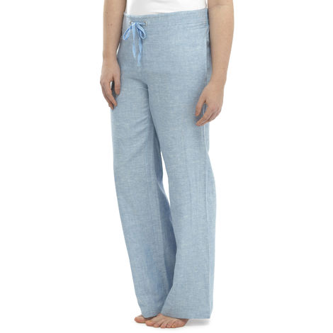 Womens Two Tone Colour Elasticated Waist Linen Trouser Lounge Wear Pants