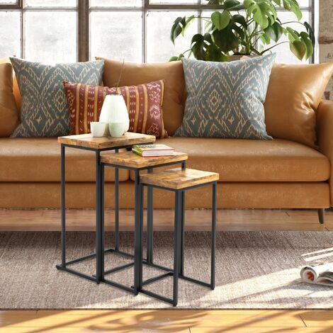 WOMO-DESIGN 3 Table gigogne d'appoint en bois de manguier massif 40,5/34,5/30cm