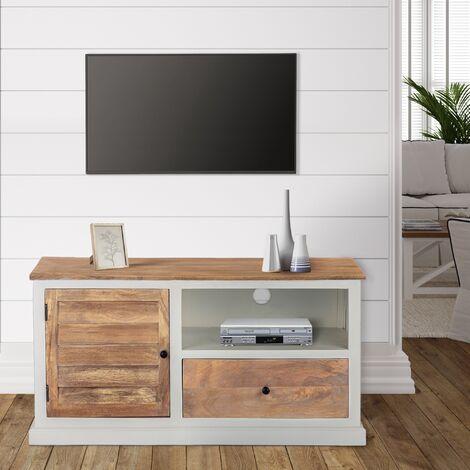 "main image of ""WOMO-DESIGN Mesa baja de TV multimedia salón mueble cajón madera Kalkutta 110cm"""