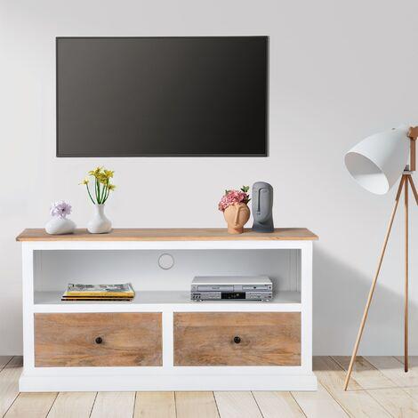 "main image of ""WOMO-DESIGN Mesa baja de TV multimedia salón mueble cajónes madera Dhaka 110cm"""
