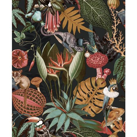 Wonderland Jungle Exotic Wallpaper YöL Black Birds Animals