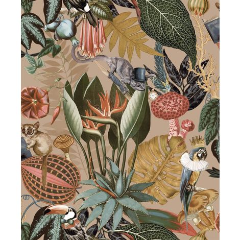 Wonderland Jungle Exotic Wallpaper YöL Gold Birds Animals