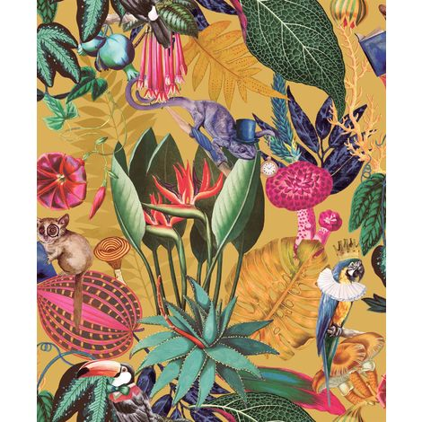 Wonderland Jungle Exotic Wallpaper YöL Ochre Birds Animals