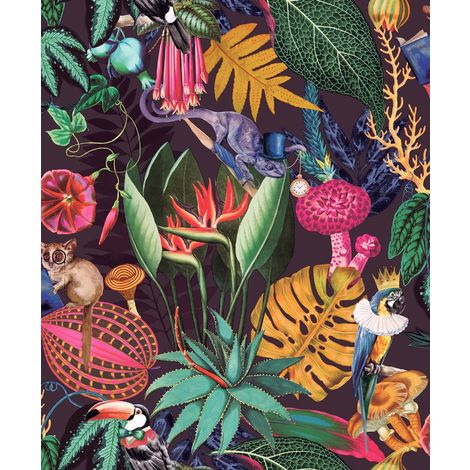 Wonderland Jungle Exotic Wallpaper YöL Plum Animals