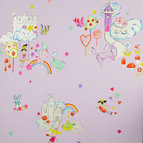 Wonderland Wallpaper Holden Kids Bedroom Lilac Pink Princess Rainbow Castle
