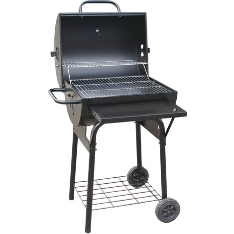 Wood and charcoal barbecue made in italy bbq in painted sheet metal with stainless steel grill and brazier