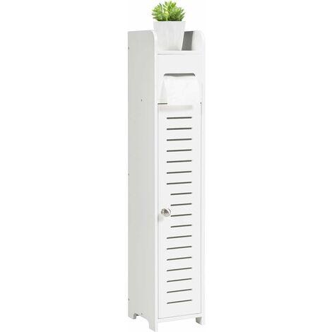 Wood Bathroom Storage Cabinet Toilet Paper Roll Holder Free Standing Organizer