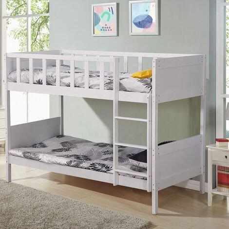 Wood Bed Frame Double Bunk Beds With Stairs 197x97x149cm White