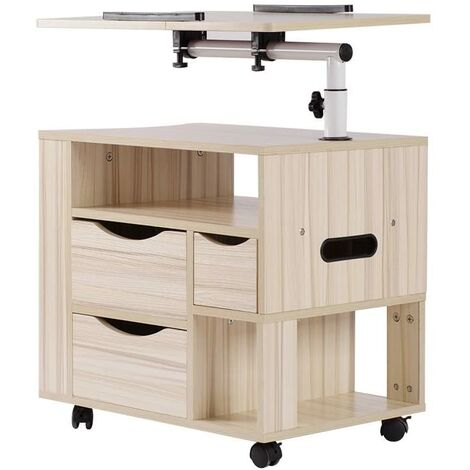 Wood Bedside Cabinet Table 3 Drawers Adjustable Height Rolling Laptop Read Desk, White Wood