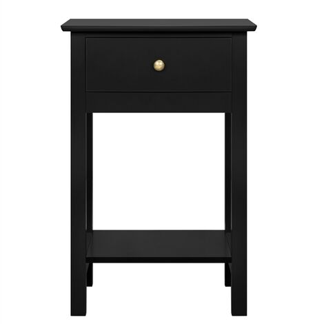 """main image of """"Wood Bedside End Table Storage Cabinet Nightstand with Drawer for Bedroom/Living Room, Black"""""""
