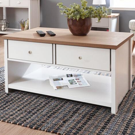 Wood Coffee Table Tea Folding Drawer Shelf Storage Desk