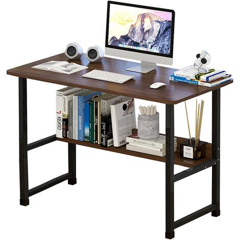 Wood Computer Table Study Desk PC Laptop Workstation 100x45x73cm Sandalwood board+Black frame