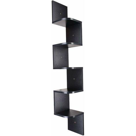 Wood Corner 5 tiers Wall Shelf Zig Zag Wooden Shelves Wooden Mount Rack Home Furniture Black