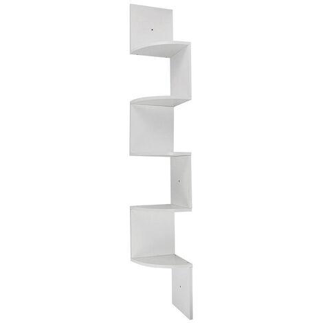 Wood Corner 5 tiers Wall Shelf Zig Zag Wooden Shelves Wooden Mount Rack Home Furniture White - White