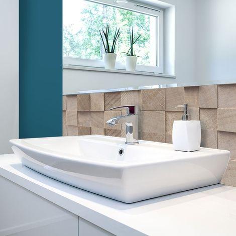 Wood | Crédence salle-de-bain en PVC imitation bois relief - Lot de 2 bandeaux L70xH30cm