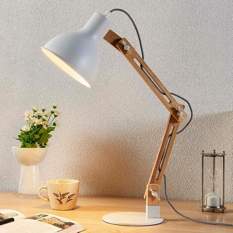 Wood desk lamp Shivanja with white lampshade
