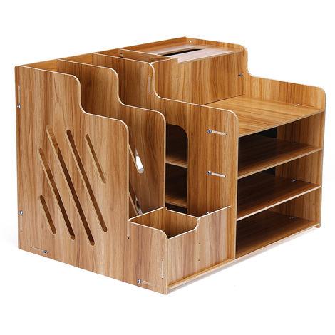 Wood Desk Organizer Storage Storage Rack Book Shelf Paper Holder