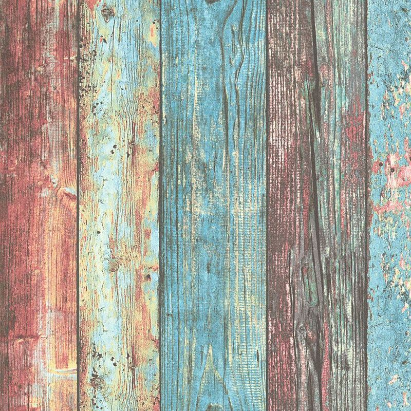 Image of Wood Effect Boards Planks Wallpaper Paste The Wall Vinyl AS Creation Colourful
