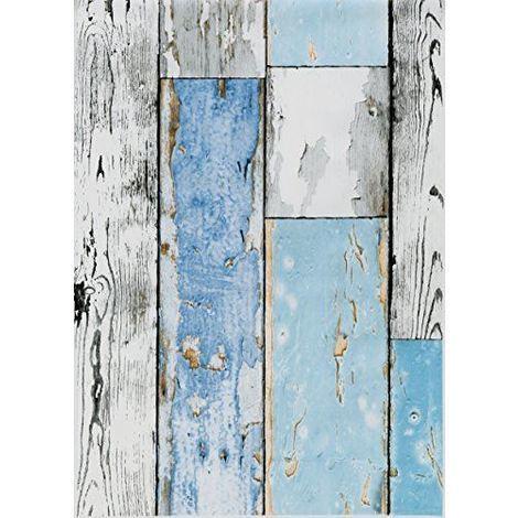 Wood Effect Fablon Sticky Back Plastic Wooden Plank Scrap wood Blue White