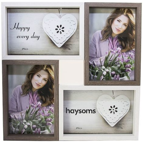 """Wood Effect Multi Photo Frame 4"""" x 6"""" White - Brown by Happy Homewares"""