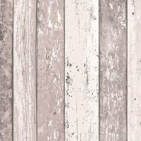 Wood Effect Wallpaper Distressed Wooden Grain Surf Beach Hut Vinyl 6 Colours