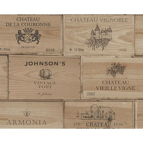 Wood Effect Wallpaper Vintage Retro Wine Box Wooden Textured Vinyl Brown