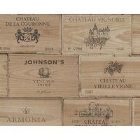 Wood Effect Wallpaper Vintage Retro Wine Box Wooden Textured Vinyl Brown