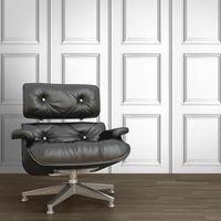 Wood Effect Wallpaper Wooden Panel Frame Realistic Modern White Grey Muriva