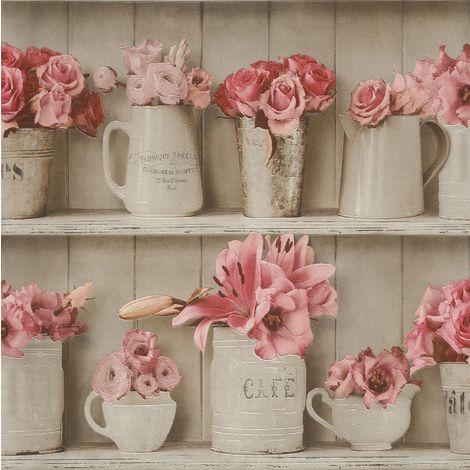 Wood Flowerpot Wallpaper Washable Vinyl Kitchen Bathroom Tile Rose Beige Rasch