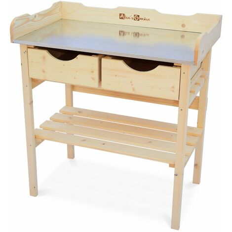 Wood Garden Workbench - PETUNIA - Gardening table with 2 drawers, potting table