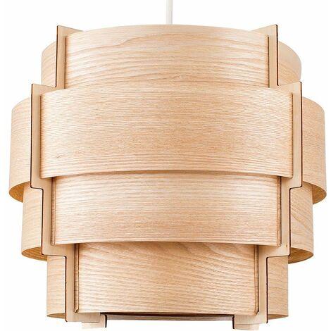 Wood Lampshade Veneer 4 Tiered Ceiling Pendant Light Shade Lighting