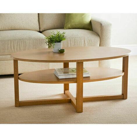 Wood Oak Finish Oval Shaped Coffee Table With Under shelf
