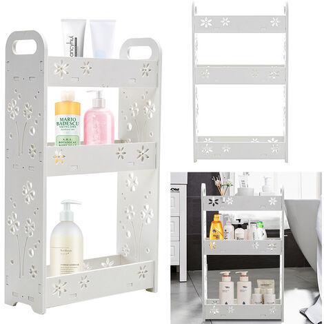 Wood Organiser Basket Tidy Corner Storage Shower Rack Shelf Bathroom Caddy White