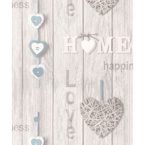 Wood Panel Wallpaper Wooden Effect Love Hearts Distressed Fine Decor