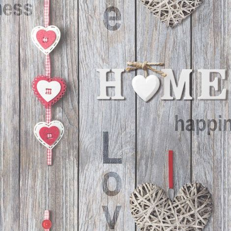 Wood Panel Wallpaper Wooden Effect Love Hearts Distressed Red Fine Decor