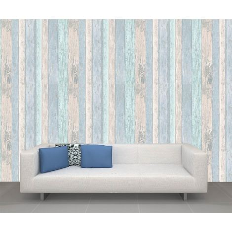 Wood Panel Wallpaper Wooden Wood Effect Beach Hut Glitter Blue CWV