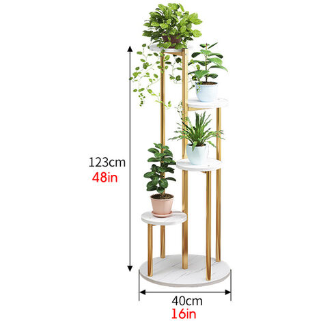 Wood Plant Pot Holder White Marble Flower Display Shelf 40x40X123cm