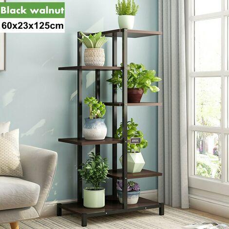 Wood Plant Shelf 5 Tier Black Walnut Shelf Expanding Open Storage Shelves Decorative Furniture with Wood Grain Shelves and Metal Frame for Home Office - Black Walnut Not Installed?(5 tier black walnut)