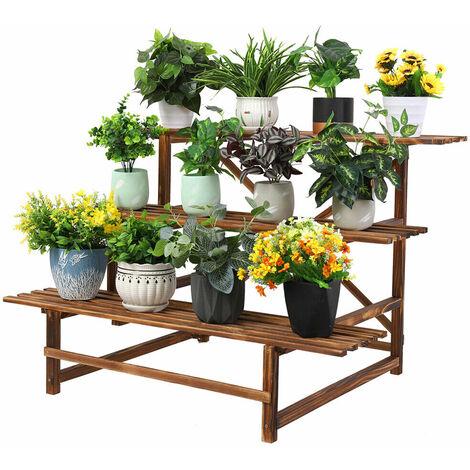 """Wood Plant Stand 45"""" Wide Ladder Shelf Flower Pots Stair Holder Garden Display"""