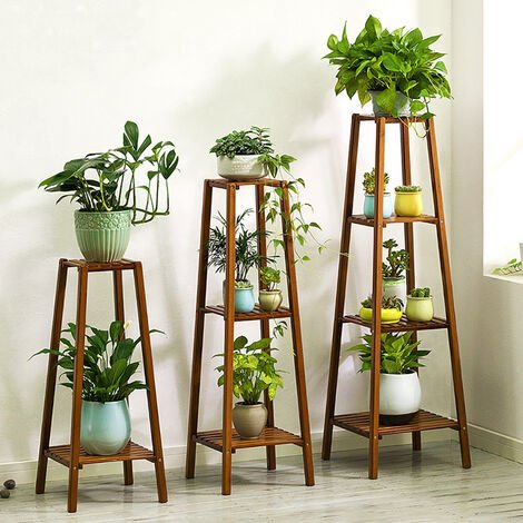 Wood Plant Stand Shelf Flowers Pots Holder Display Rack, 3 Tier