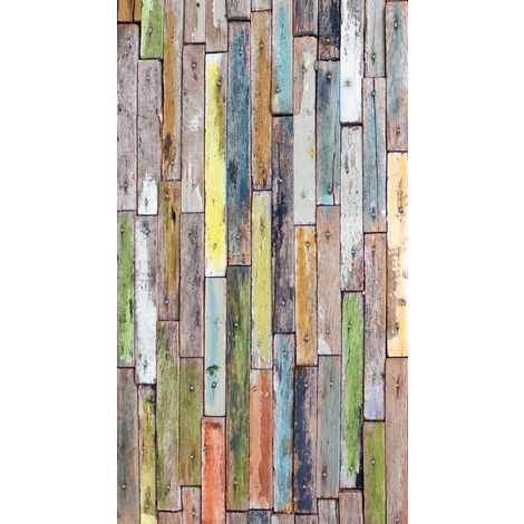 Wood, rideau imprimé parquet en bois multicolore 140x245 cm, 1 part
