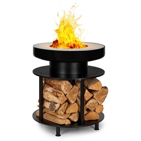 Wood Stock 2-in-1 Braséro Ø56cm & grill barbecue acier noir