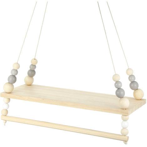 Wood Tassel Hanging Floating Wall Shelf B