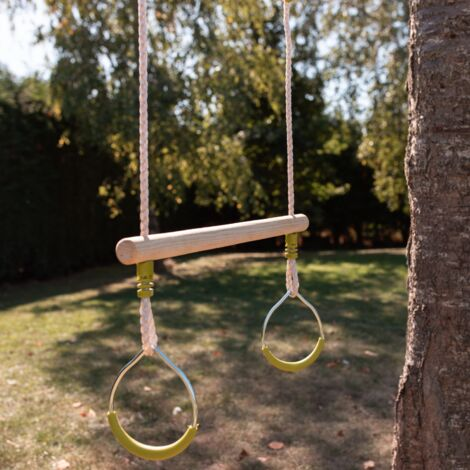 Wood trapeze with a pair of metal rings for 2 to 2.5m frame, swing set piece, accessory