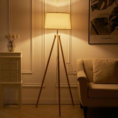Wood Tripod Floor Lamp Home Lighting Elegant E27 Bulb Linen Shade